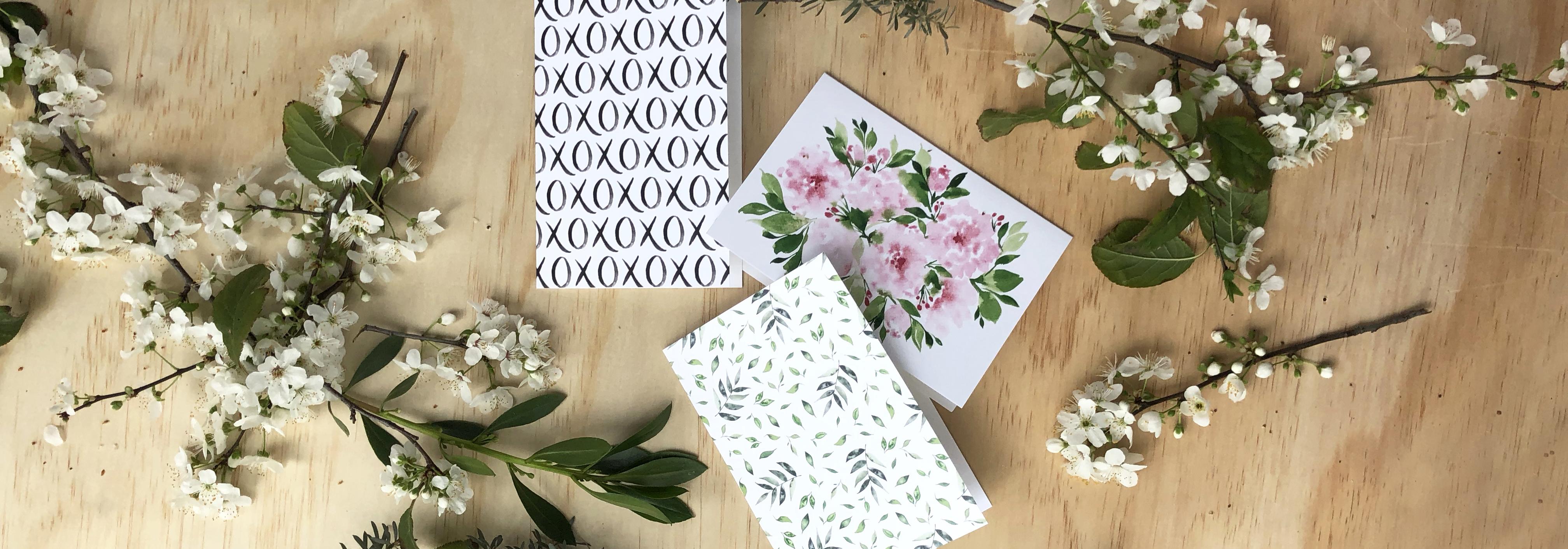 card flatlay wildflowers