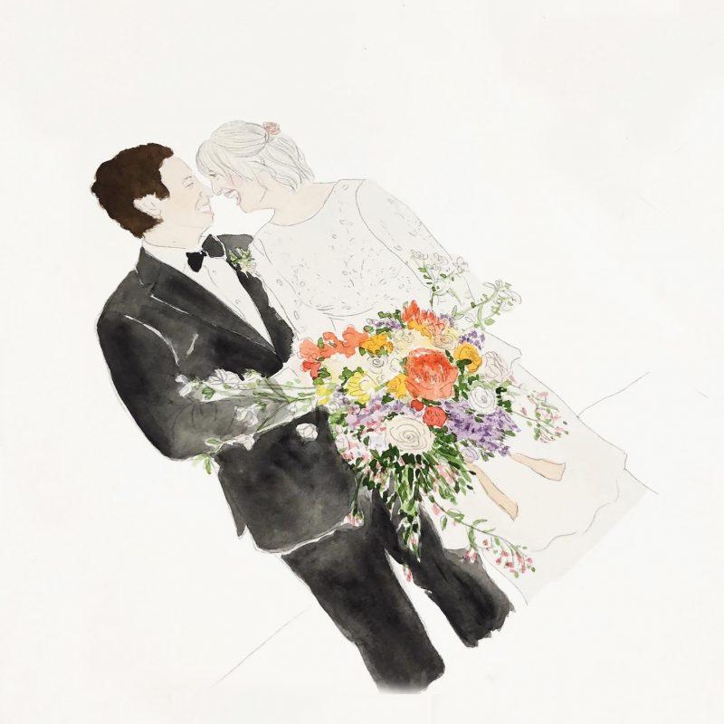 custom wedding watercolour portrait