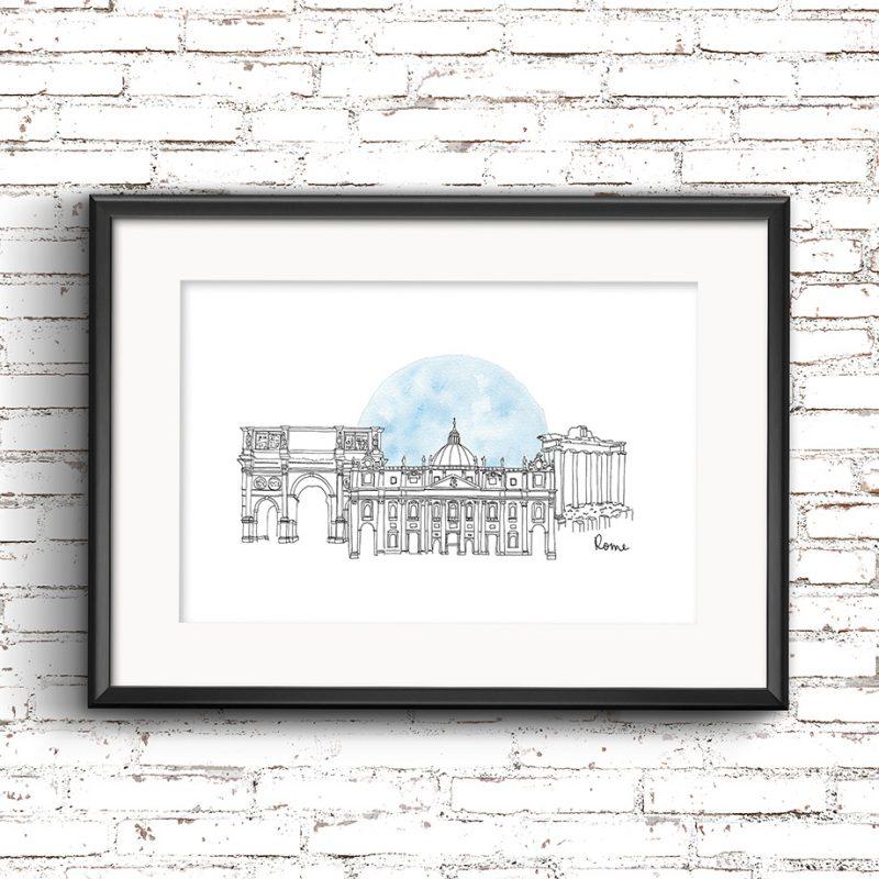 Rome Illustration Framed
