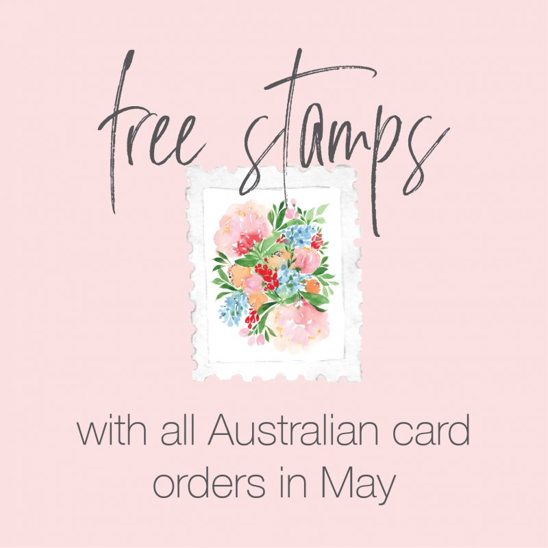 free stamps with card order Australian made watercolour greeting cards